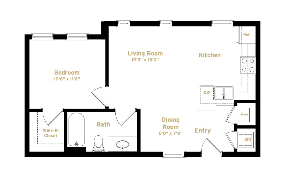 1A5 - 1 bedroom floorplan layout with 1 bath and 627 square feet. (2D)