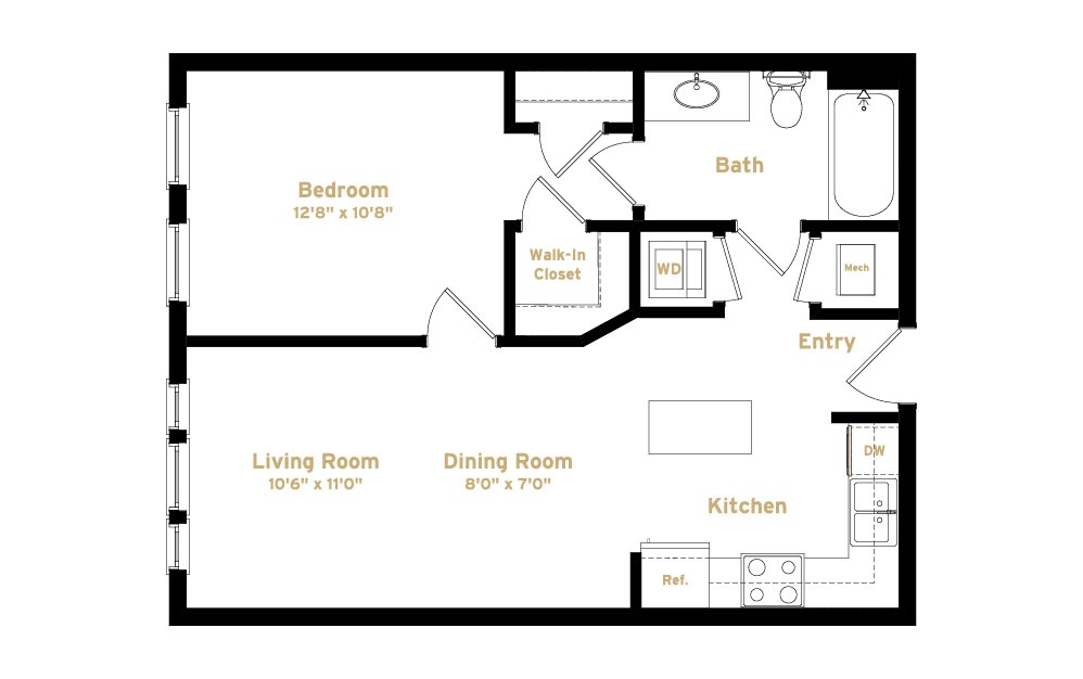 1A6 - 1 bedroom floorplan layout with 1 bath and 638 square feet. (2D)