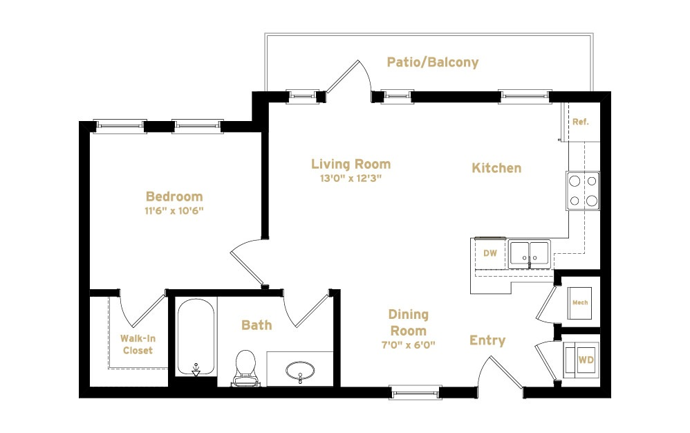 1A7 - 1 bedroom floorplan layout with 1 bath and 653 square feet. (2D)