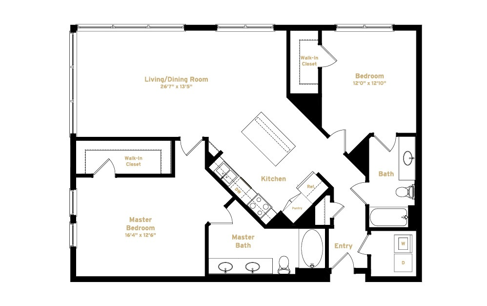 1B2 - 2 bedroom floorplan layout with 2 baths and 1370 square feet. (2D)