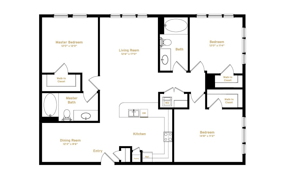 1C1 - 3 bedroom floorplan layout with 2 baths and 1370 square feet. (2D)