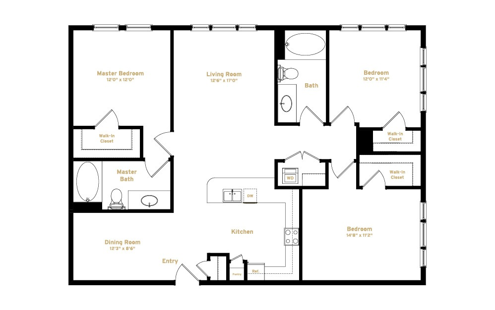1C2 - 3 bedroom floorplan layout with 2 baths and 1472 square feet. (2D)