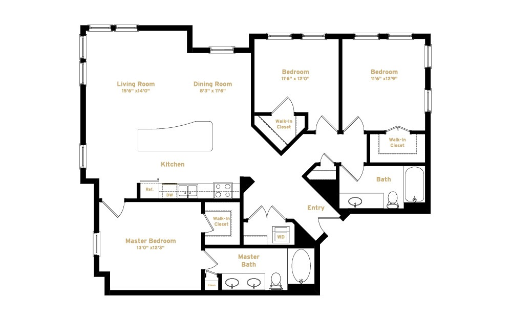 1C3 - 3 bedroom floorplan layout with 2 baths and 1454 square feet. (2D)