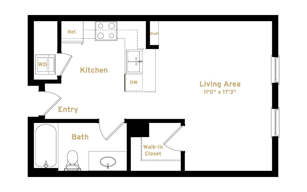 1S1 - Studio floorplan layout with 1 bath and 495 square feet. (2D)