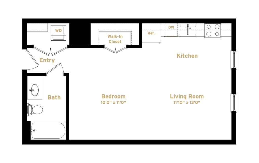 1S3 - Studio floorplan layout with 1 bath and 551 square feet. (2D)