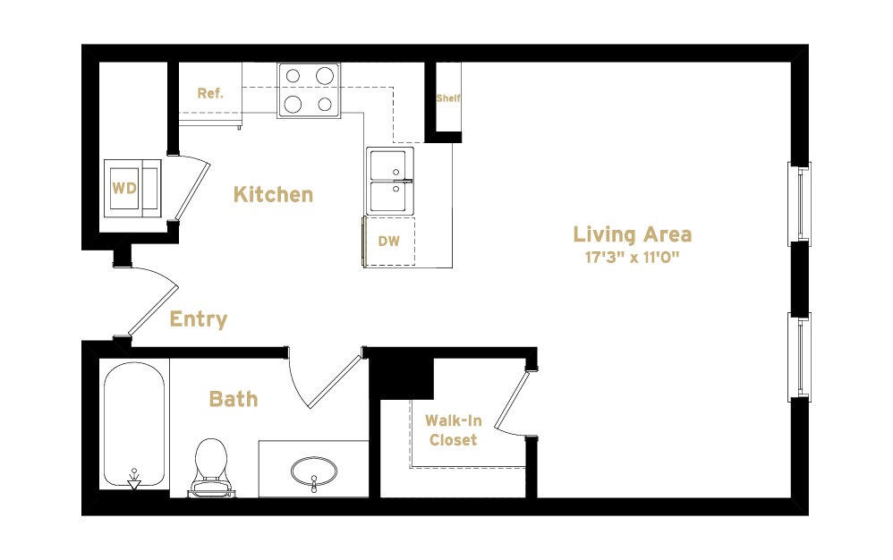 1S4 - Studio floorplan layout with 1 bath and 562 square feet. (2D)
