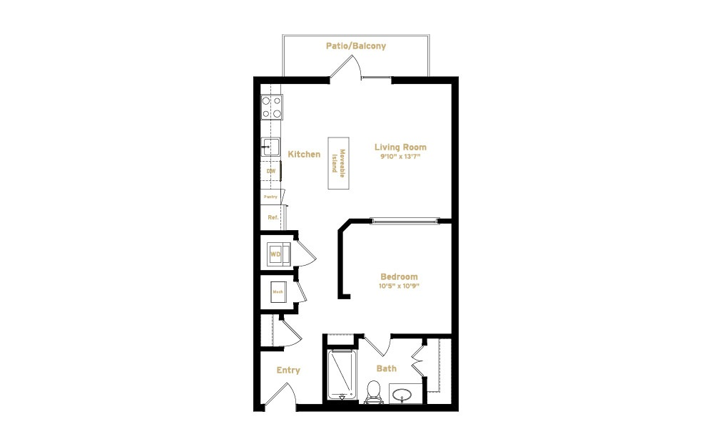 2A2 - 1 bedroom floorplan layout with 1 bath and 640 square feet. (2D)