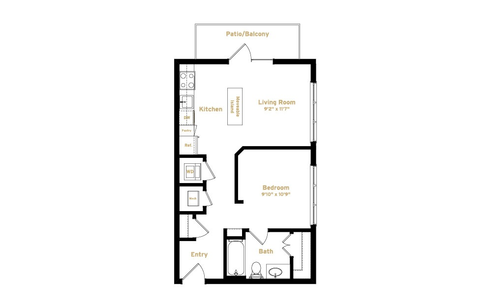 2A3 - Studio floorplan layout with 1 bath and 560 square feet. (2D)