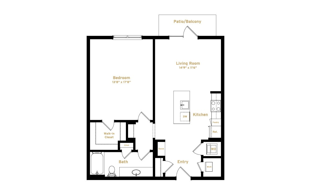 2A5 - 1 bedroom floorplan layout with 1 bath and 869 square feet. (2D)