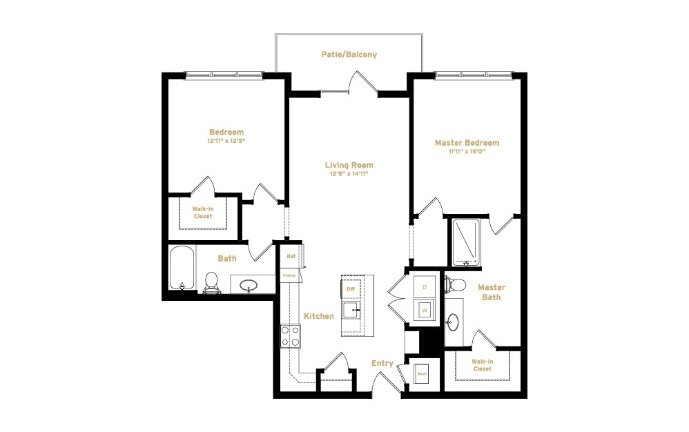 2B1 - 2 bedroom floorplan layout with 2 baths and 1143 square feet. (2D)