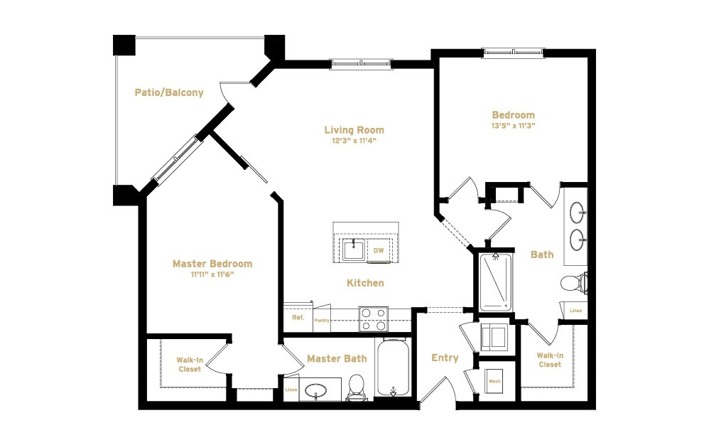 2B2 - 2 bedroom floorplan layout with 2 baths and 1041 square feet. (2D)