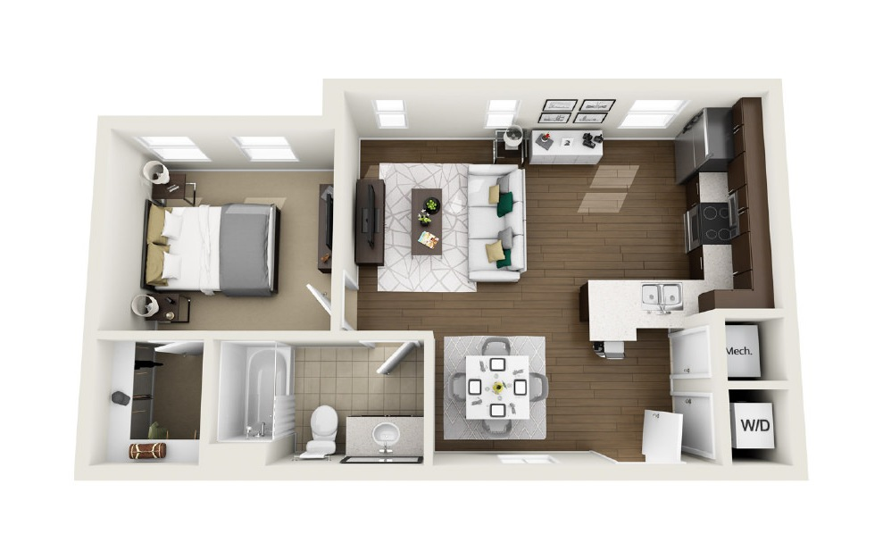 1A5 - 1 bedroom floorplan layout with 1 bath and 627 square feet. (3D)