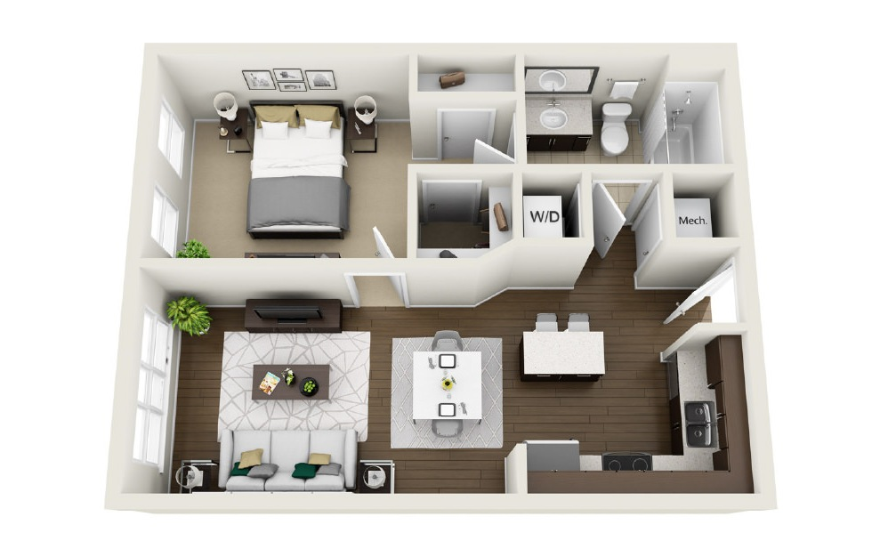 1A6 - 1 bedroom floorplan layout with 1 bath and 638 square feet. (3D)