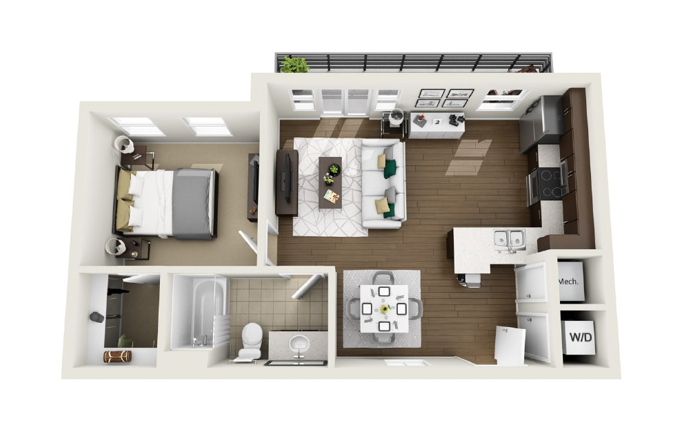1A7 - 1 bedroom floorplan layout with 1 bath and 653 square feet. (3D)
