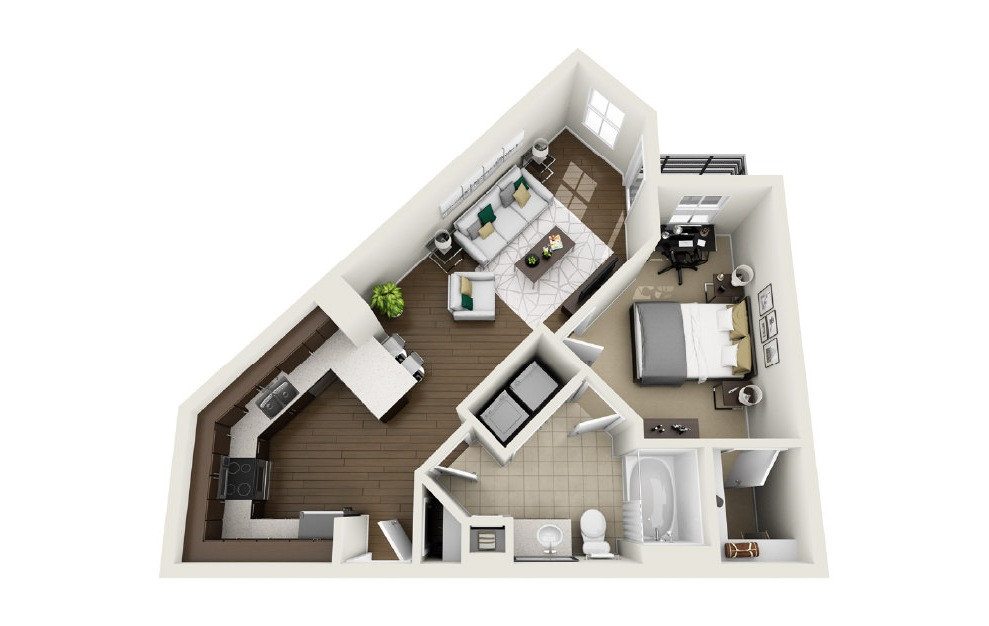 1A8 - 1 bedroom floorplan layout with 1 bath and 691 square feet. (3D)