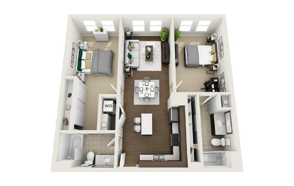 1B1 - 2 bedroom floorplan layout with 2 baths and 1023 square feet. (3D)