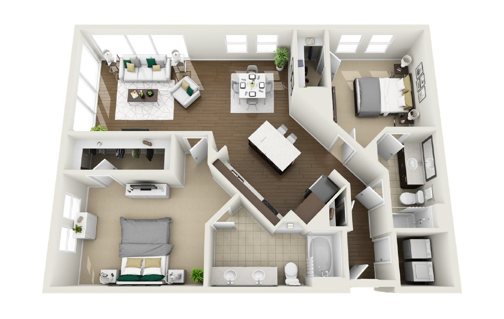 1B2 - 2 bedroom floorplan layout with 2 baths and 1370 square feet. (3D)