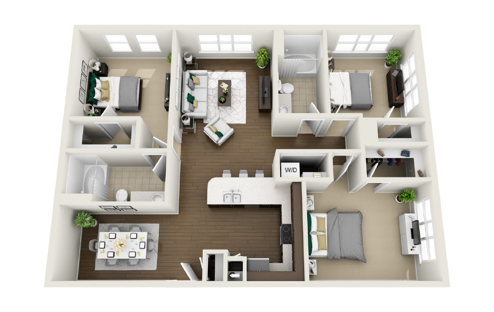 1C1 - 3 bedroom floorplan layout with 2 baths and 1370 square feet. (3D)