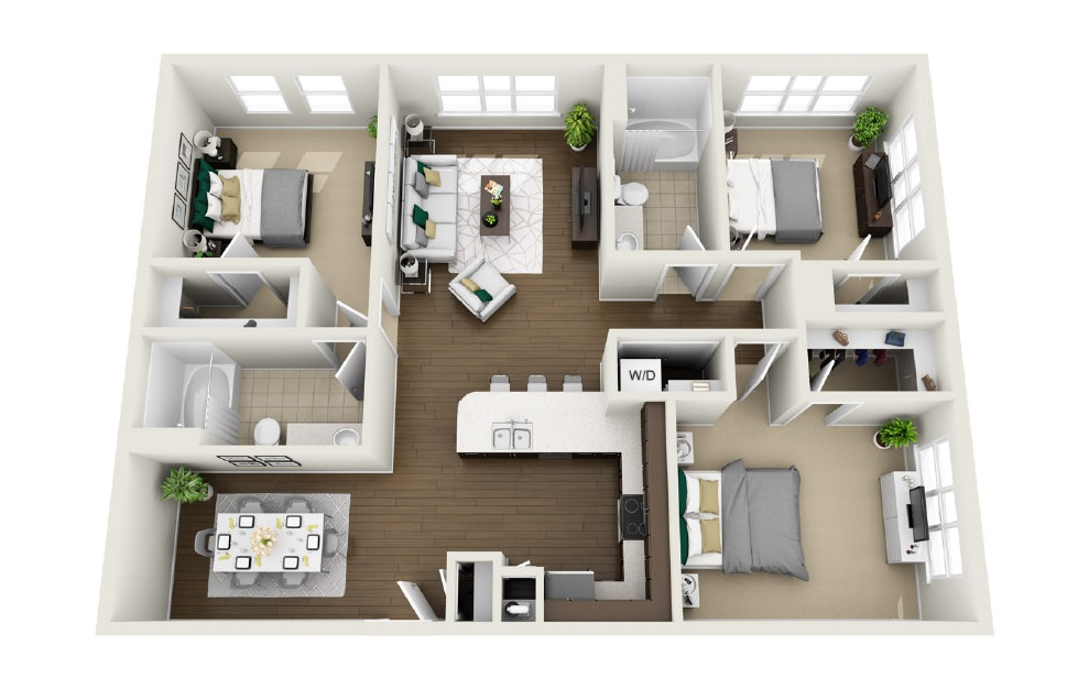 1C2 - 3 bedroom floorplan layout with 2 baths and 1472 square feet. (3D)