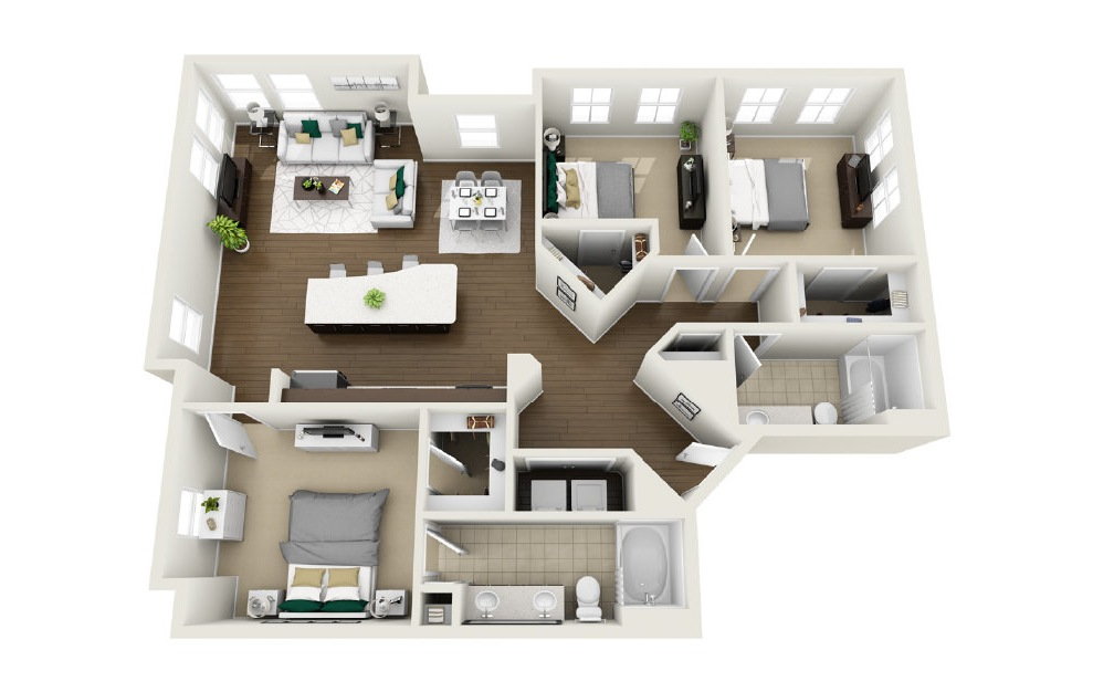 1C3 - 3 bedroom floorplan layout with 2 baths and 1454 square feet. (3D)