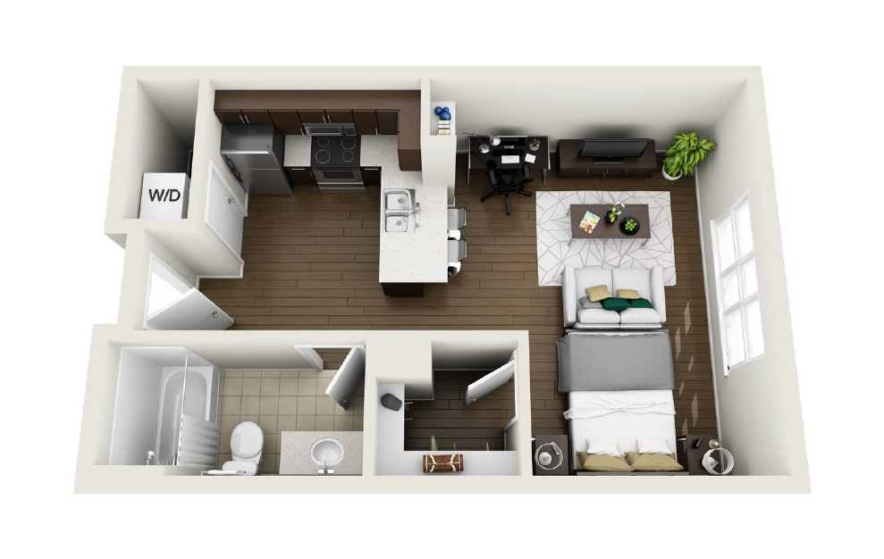 1S1 - Studio floorplan layout with 1 bath and 495 square feet. (3D)