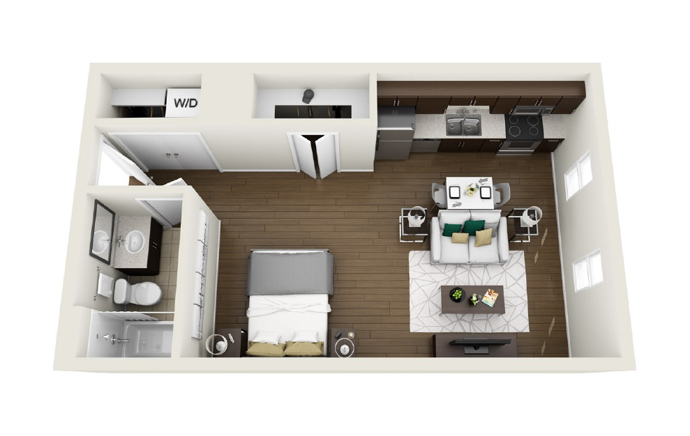 1S3 - Studio floorplan layout with 1 bath and 551 square feet. (3D)