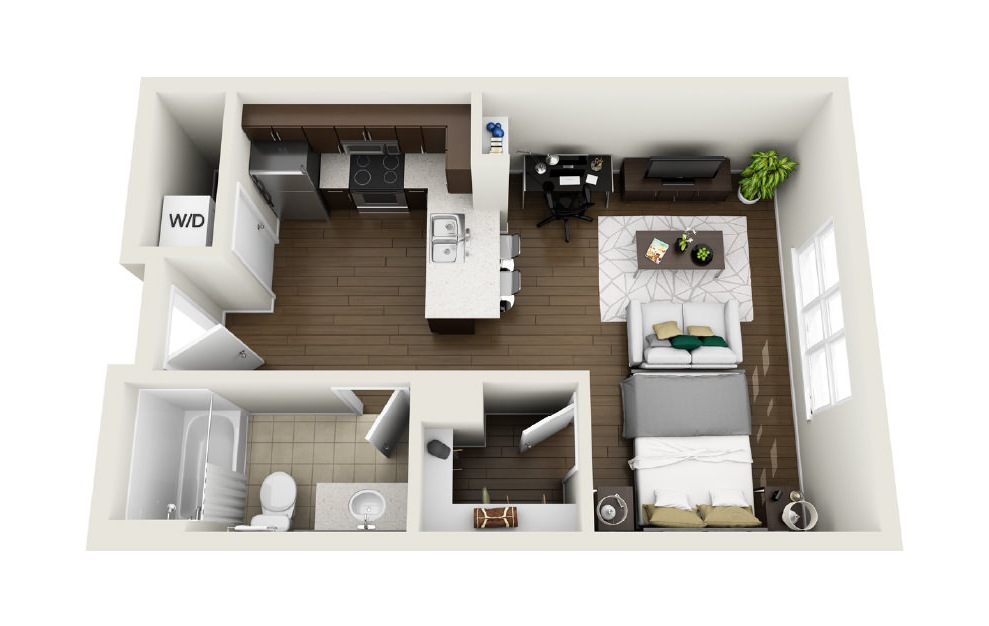 1S4 - Studio floorplan layout with 1 bath and 562 square feet. (3D)