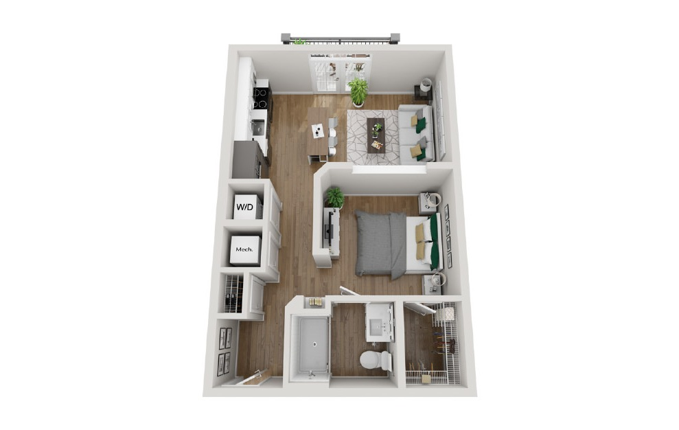 2A1 - Studio floorplan layout with 1 bath and 600 square feet. (3D)