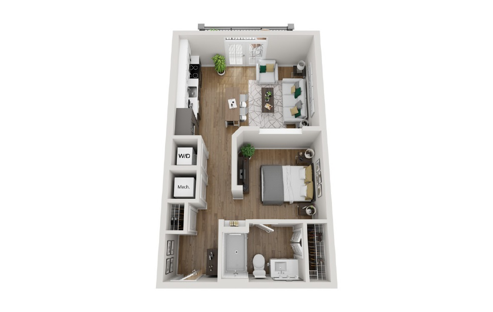 2A2 - 1 bedroom floorplan layout with 1 bath and 640 square feet. (3D)