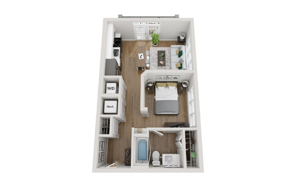 2A3 - Studio floorplan layout with 1 bath and 560 square feet. (3D)