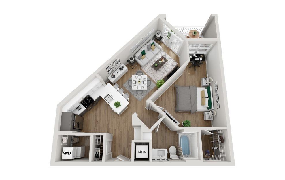 2A4 - 1 bedroom floorplan layout with 1 bath and 742 square feet. (3D)