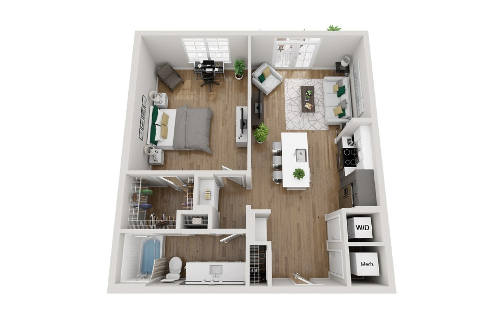 2A5 - 1 bedroom floorplan layout with 1 bath and 869 square feet. (3D)