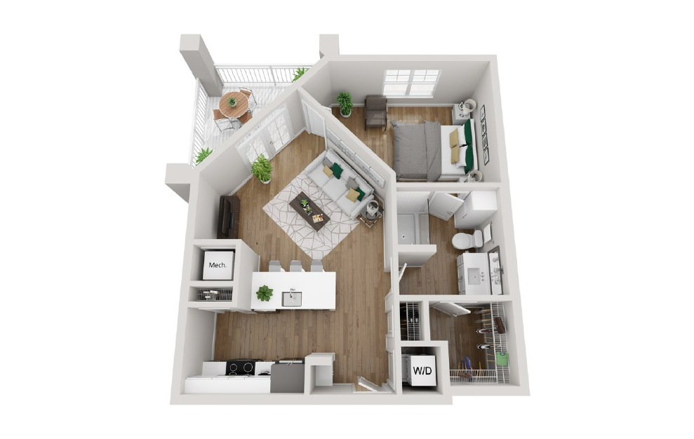 2A6 - 1 bedroom floorplan layout with 1 bath and 675 square feet. (3D)