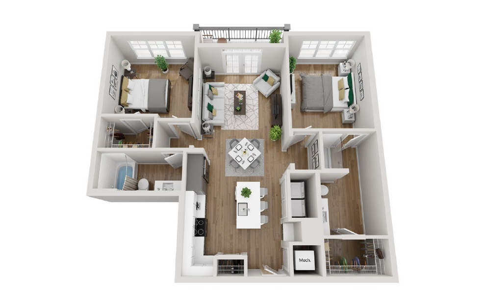 2B1 - 2 bedroom floorplan layout with 2 baths and 1143 square feet. (3D)