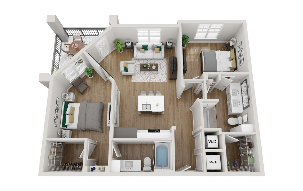 2B2 - 2 bedroom floorplan layout with 2 baths and 1041 square feet. (3D)