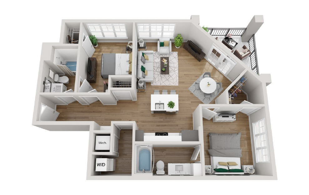 2B3 - 2 bedroom floorplan layout with 2 baths and 1041 square feet. (3D)