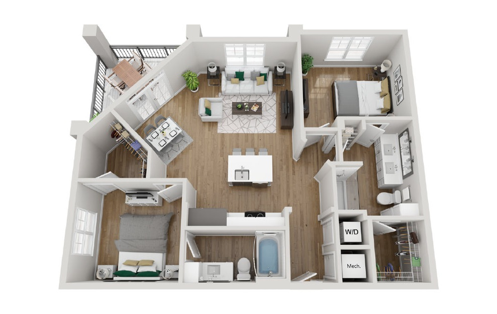 2B4 - 2 bedroom floorplan layout with 2 baths and 1048 square feet. (3D)