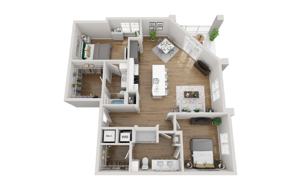 2B5 - 2 bedroom floorplan layout with 2 baths and 1222 square feet. (3D)