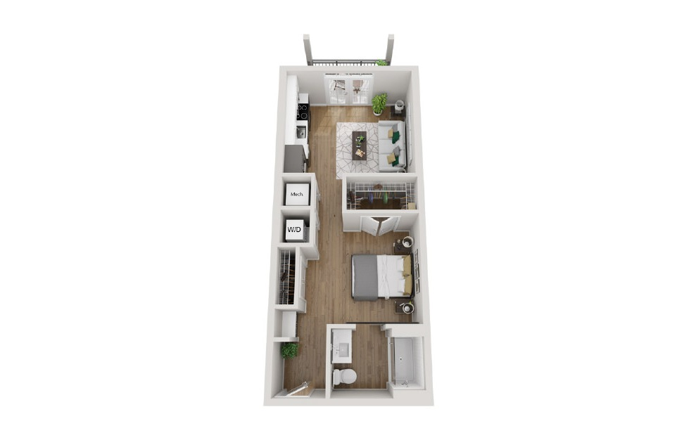 2S1 - Studio floorplan layout with 1 bath and 566 square feet. (3D)